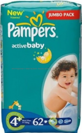 Подгузники PAMPERS Maxi Plus 4+ (9-16 кг), 62 шт.